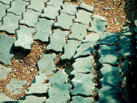 Bricks, Broken, Road, Pattern, Zigzag, Green, Aged