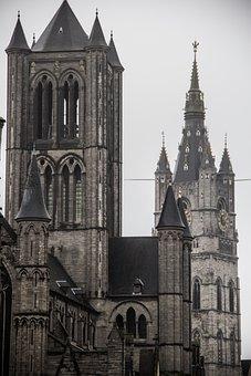 Belfry Of Ghent, Belfry Tower, Church, Church Tower