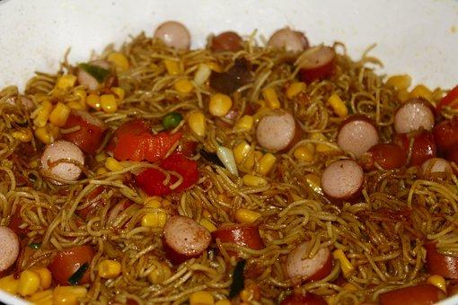 Cooking Pasta, Corn, Noodles, Sausage, Eat, Cook, Asia