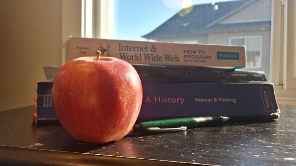 Textbook, Apple, Pencil, Study, Home, Snack, Education