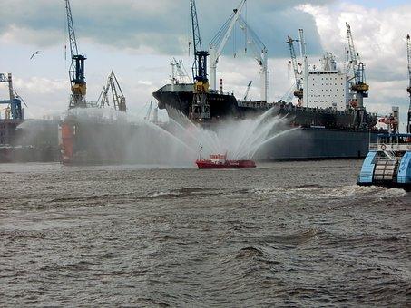 Shipping, Port, Fire, Delete, Ship, Elbe, Hamburg