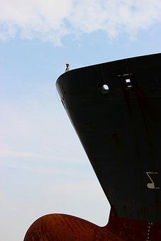 Ship, Freighter, Bug, Gigantic, Sky, Big And Small
