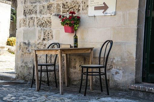 Matera, Italy, Chairs, Wine, Atmosphere