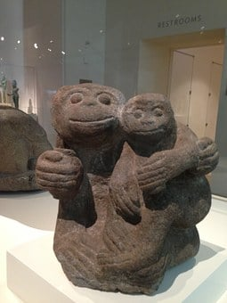 Simian Mother And Child, Indonesian, Java, 13th Century