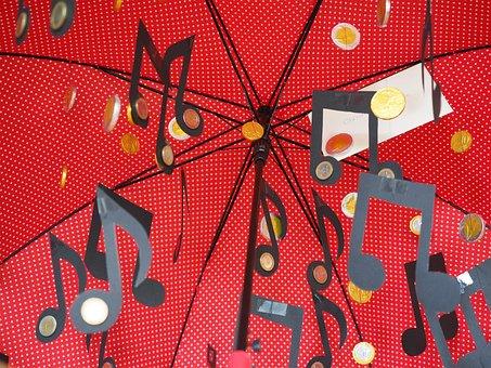Umbrella, Money Rain, Music, Coins, Thaler, Gift