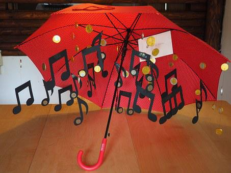 Umbrella, Money Rain, Music, Coins, Thaler, Gift