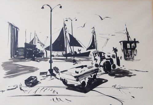 Brush Drawing, Image, Painting, Zeichnuzng, Port, Ships