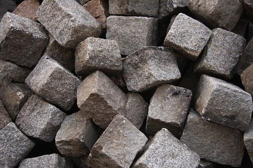 Stones, Granite, Small Patch, Paving Stones, Grey, Pile