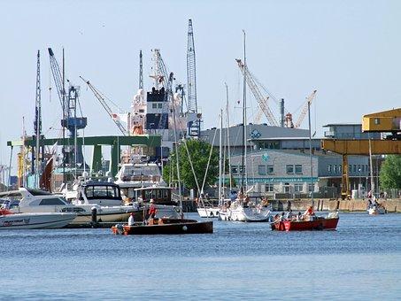 Port, Ships, Boats, Cranes, Water, Bremerhaven