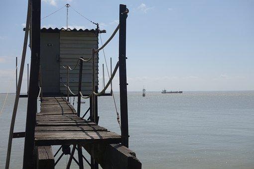 Sea, Ocean, Fishing, Fisherman's Hut, Saint-nazaire