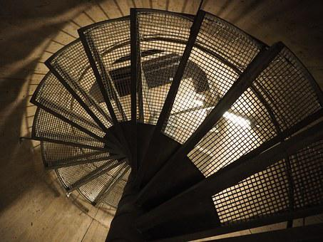 Spiral Staircase, Descent, Gradually, Stair Step