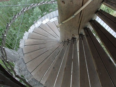 Spiral Staircase, Tower Stairs, Wooden Ladders