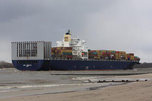Freighter, River, Container, Transport, Cargo, Shipping