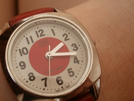 Watch, Red, Art, Clock, Czech, One, Two, Three, Four