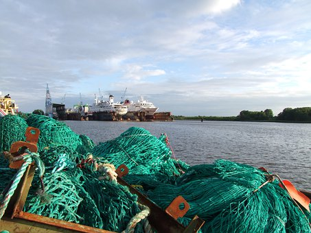 Fishing Net, Old, Water, Ships, Dry Dock, Sky, Clouds