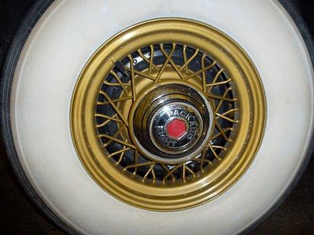 Packard, Wheel, Whitewall, Tire, Wire Rim, Antique