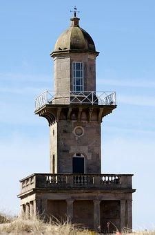 Old, Lighthouse, Light, Blackpool, Sea, Beach