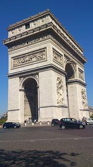 Triumphal Arch, Paris, Arc De Triomphe, Building, Arch