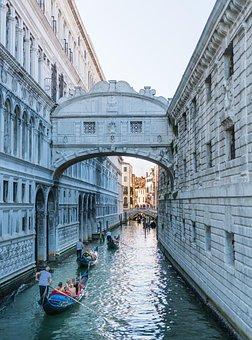 Venice, Italy, Gondola, Sky, Bridge, Europe, Canal
