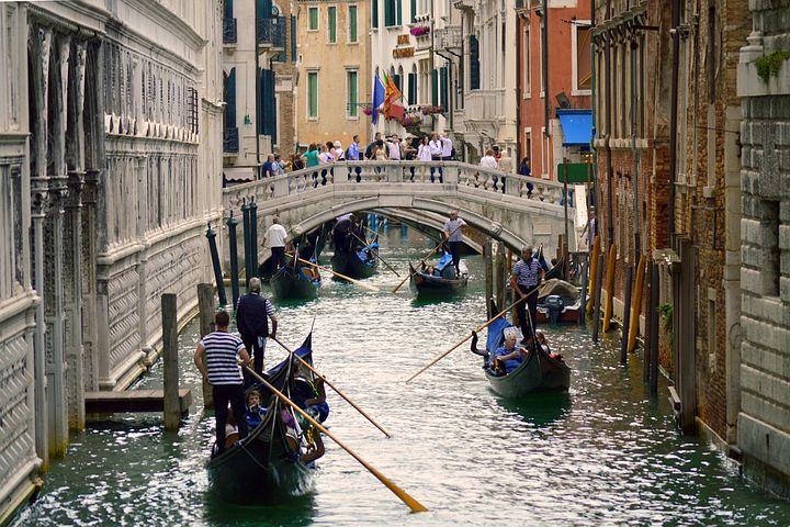 Gondolas, Venice, Italy, Europe, Canal, Travel, Water