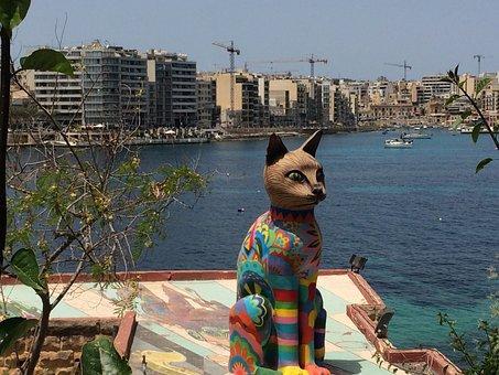 Malta, Europe, Mediterranean, Sea, Seaside, Cat