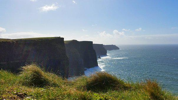 Cliffs, Blue, Green, Landscape, Ireland, Water, Sky