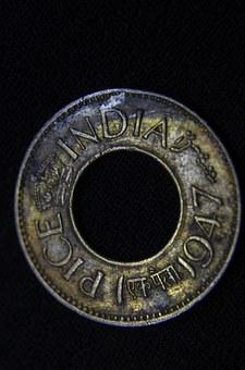 Coin, Hole, India, Ancient, Old, Pice