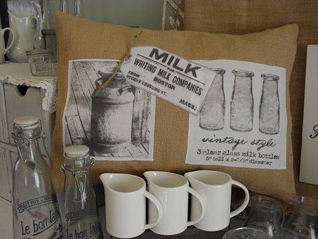 Dairy, Milk, Decor, Jug, Burlap, Decoration, White
