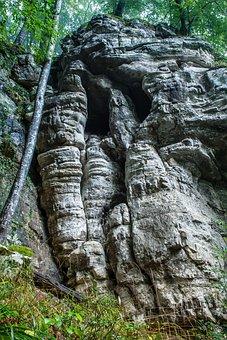 Rock, Cliff, Rock Wall, Grey, Cold, Blue, Face, Skull