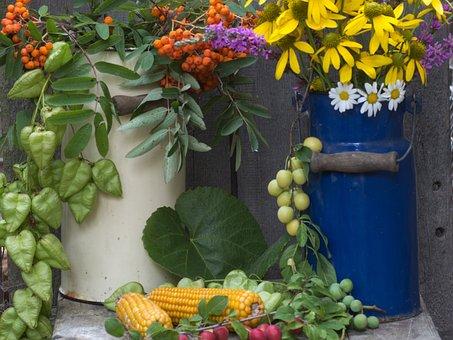 Flowers, Jugs, Corn On The Cob, Milk Can, Mountain Ash