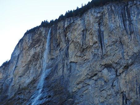 Staubbachfall, Waterfall, Free-fall, Lauterbrunnen