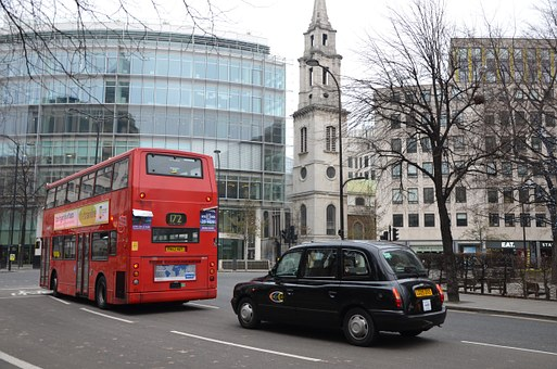 Bus, Taxi, London, Red, Black, Street, England