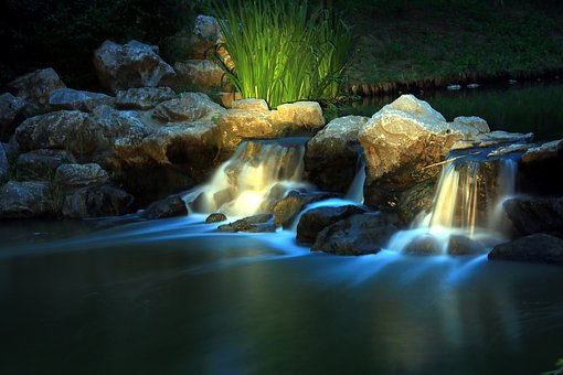 Green, Water, Stone, Late, Long Exposure, Flow, Falls