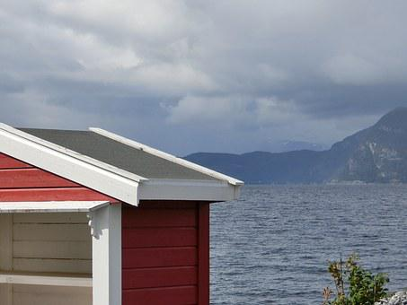 Bus Stop, Stop, Cottage, Red, Fjord, Mountains