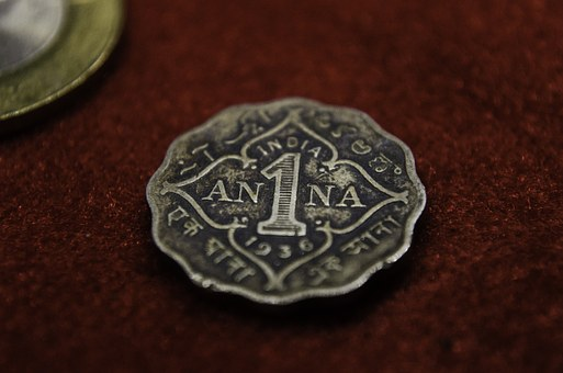 Anna, Coin, India, Ancient, Old, Currency, Money