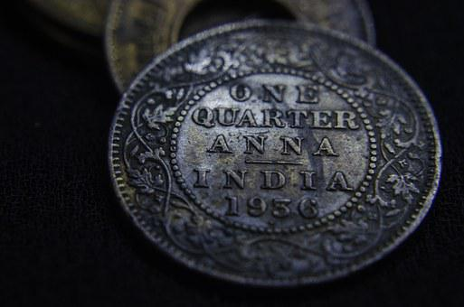 Anna, Quarter, Currency, Old, Coin, India, Ancient