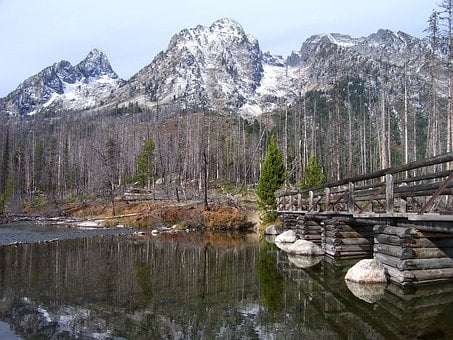 String Lake, Water, Reflections, Bridge, Wooden