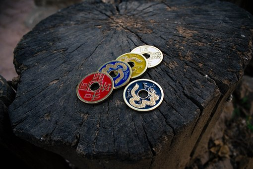 Ancient Coins, Wood Grain, Retro