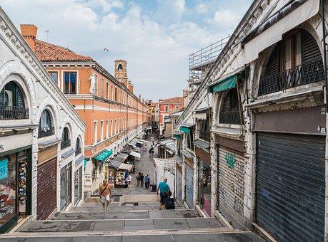 Venice, Italy, Architecture, Rialto Bridge Stairs
