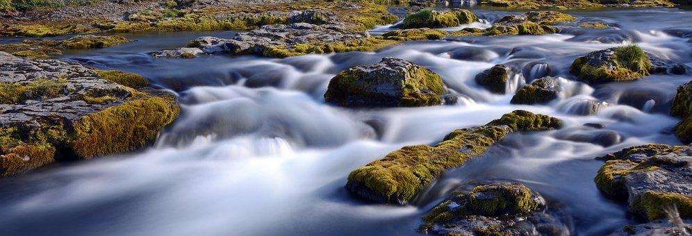Kirkjufell River, River, Flow, Landscape, Nature