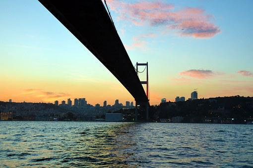 Bridge, Istanbul, Turkey, Sunset, Europe, Sea, Tourism