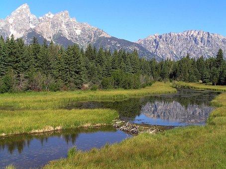Grand Teton National Park, Wyoming, Sky, Mountains