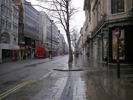 London, Street, Red Bus, City, Pavement, Wet, Urban