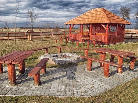 Hungary, Rest Area, Picnic Spot, Building, Tables