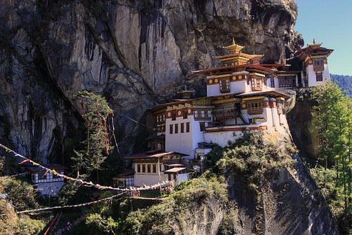 Monastery, Tiger Nest, Buddhists, Mountain, Steep Slope