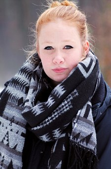 Winter, Girl, Child, Cold, Face, Scarf, Woman, Smile