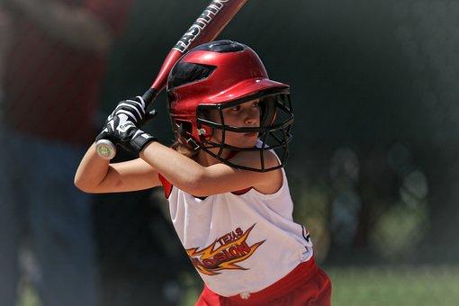 Softball, Batter, Girl, Batting, Helmet, Female, Player