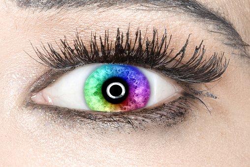Eye, Iris, Rainbow Colors, Beautiful, Close-up