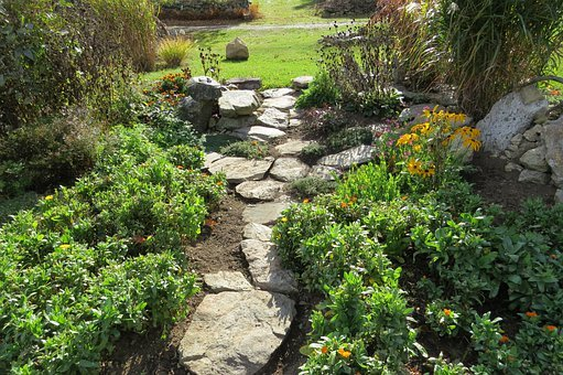 Garden, Path, Country, Stone, Green, Plant, Walkway