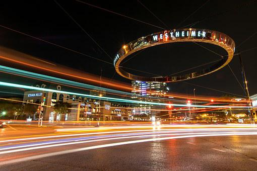 Houston, Galleria, Night, Cars, Lights, Westheimer